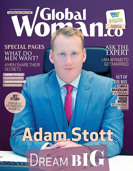 Adam Stott recognised by GlobalWoman.co global woman 450